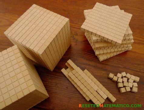Bloques multibase o Base 10 de madera.