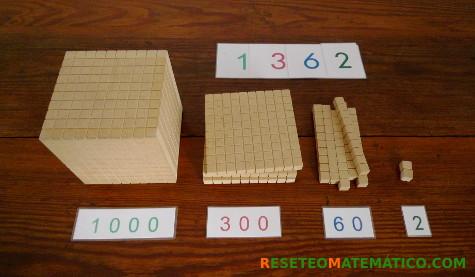Número 1362 formado con Base 10