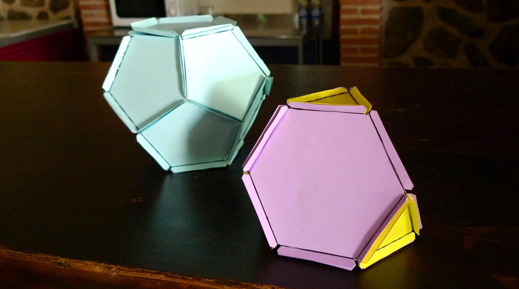 Construye poliedros con gomas y cartulina