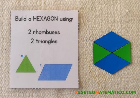 """Puzle con Pattern Blocks. El texto en inglés dice """"construye un HEXÁGONO usando 2 rombos y 2 triángulos"""""""