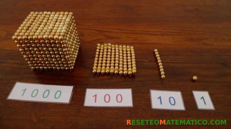 """Perlas doradas Montessori, también conocidas como """"Material de Banco"""""""