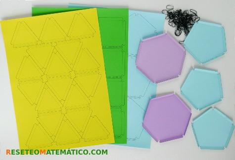 Plantillas de polígonos para construir poliedros con gomitas