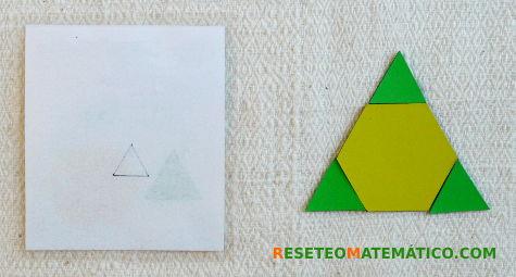 Parte trasera de las tarjetas con el dibujo de la figura que hay que formar
