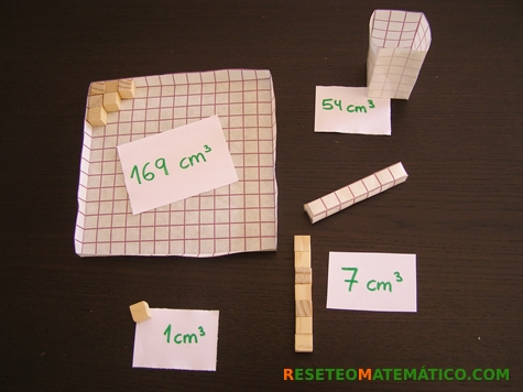 Proyecto Matemáticas Volumen Imprimibles. Cajas de recortes 1, 6 y 7 cm con sus capacidades