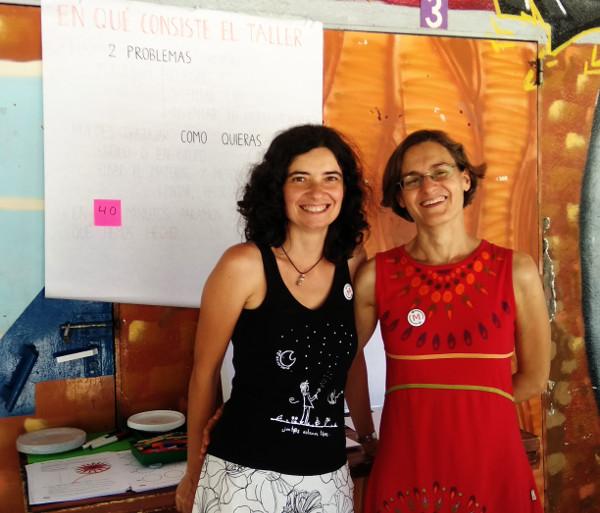 Beatriz y Sara antes de empezar el reseteo matemático (taller matemáticas face 2018)