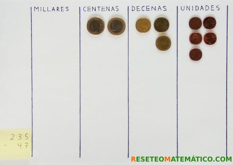 Resta con monedas paso 1