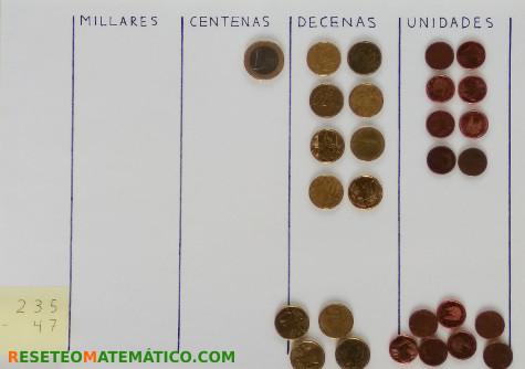 Resta con monedas paso 3
