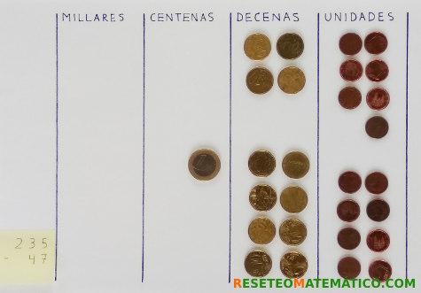 Resta con monedas, método 2 paso 2