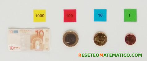 Correspondencia monedas - sellos Montessori