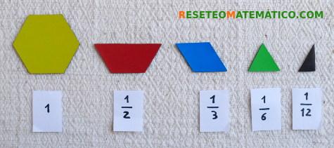 Piezas Pattern Blocks fracciones