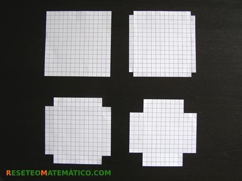 Proyecto Matemáticas Manipulativos Volumen. Cuadrado de 15cm con recortes de 1, 2 y 3 cm