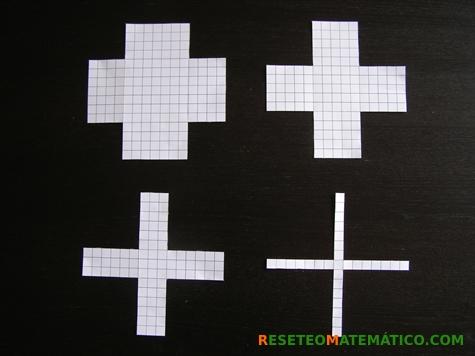 Proyecto Matemáticas Manipulativos Volumen. Cuadrados de 15cm con recortes de 4, 5, 6 y 7 cm