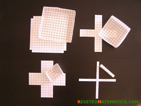 Proyecto Matemáticas Manipulativos Volumen. Cuadrados con distintos recortes y las cajas que se forman a partir de ellos