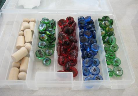 Sellos Montessori con cuentas de vidrio