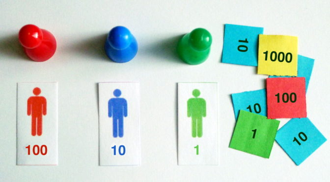 Dividir con sellos Montessori cabecera