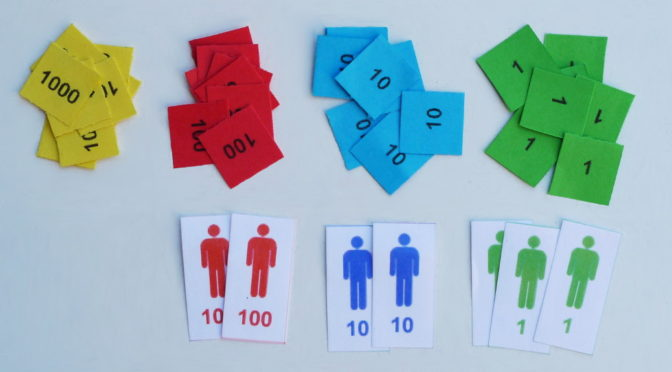 Sellos Montessori: cómo sumar y restar
