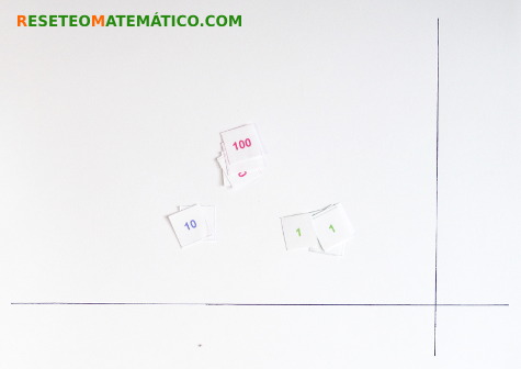 Multiplicar sellos Motessori espacio de trabajo