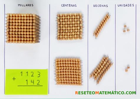 suma sin llevada con perlas doradas Montessori. Paso1