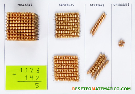 suma sin llevada con perlas doradas Montessori. Paso 2