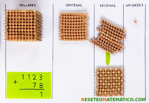 suma con llevada con perlas doradas Montessori. Paso 5